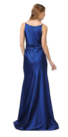 V-Neck Long Formal Dress with Spaghetti Strap Navy Blue