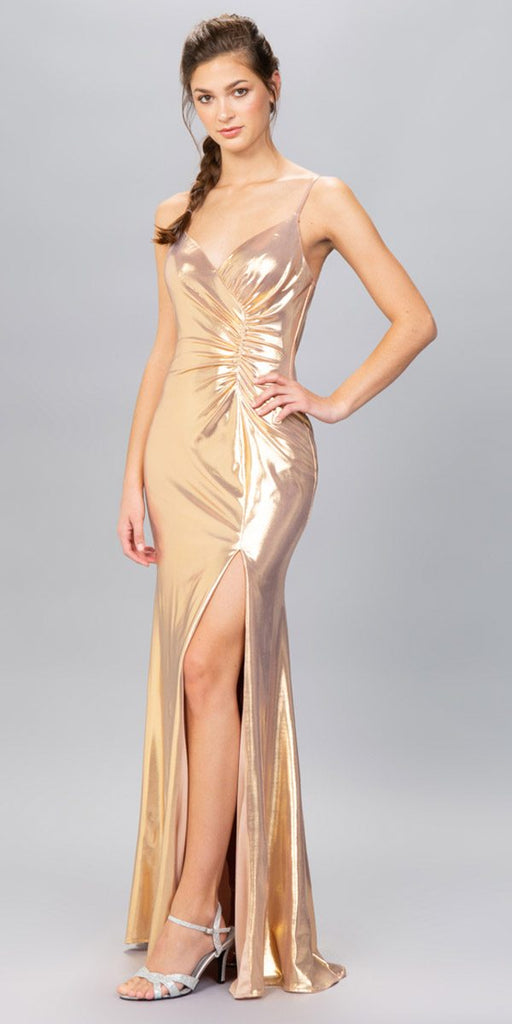 Rose Gold Ruched Bodice Metallic Long Prom Dress with Slit