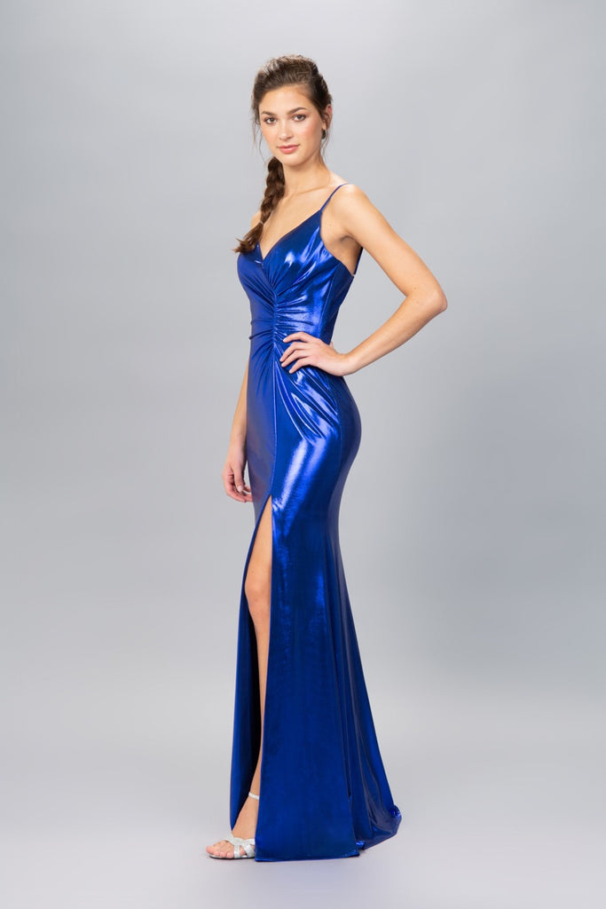 Royal Blue Ruched Bodice Metallic Long Prom Dress with Slit
