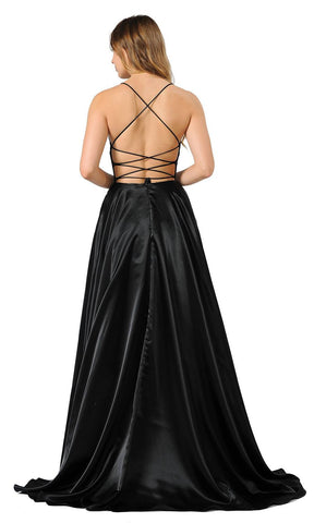 Black Strappy Back Long Prom Dress with Pockets