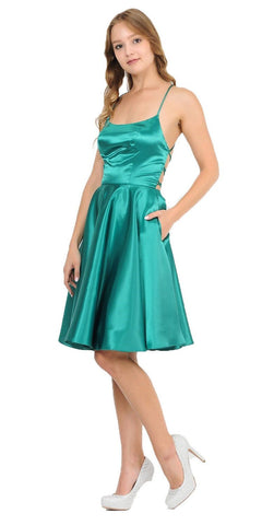 Poly USA 9064 Green Strappy Back Homecoming Short Dress with Pockets