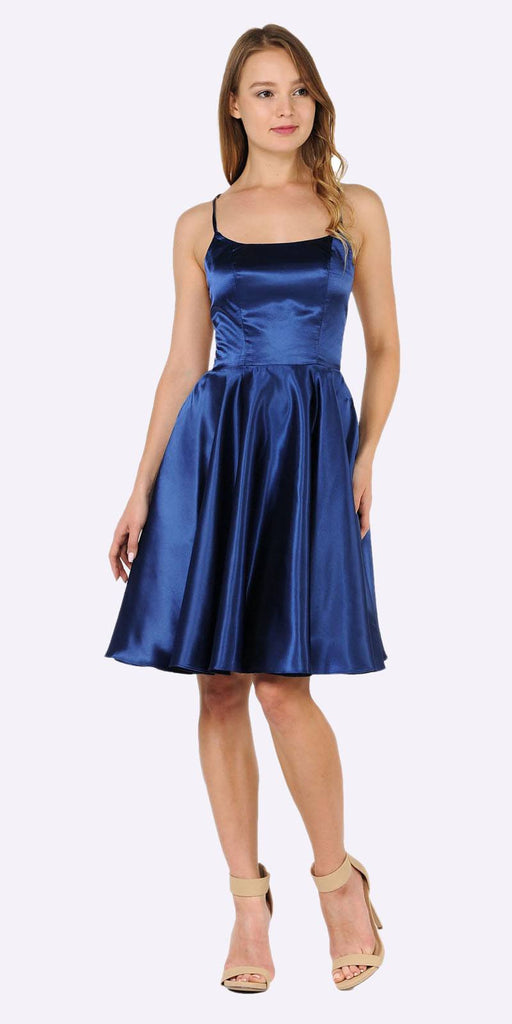 Poly USA 9064 Navy Blue Strappy Back Homecoming Short Dress with Pockets