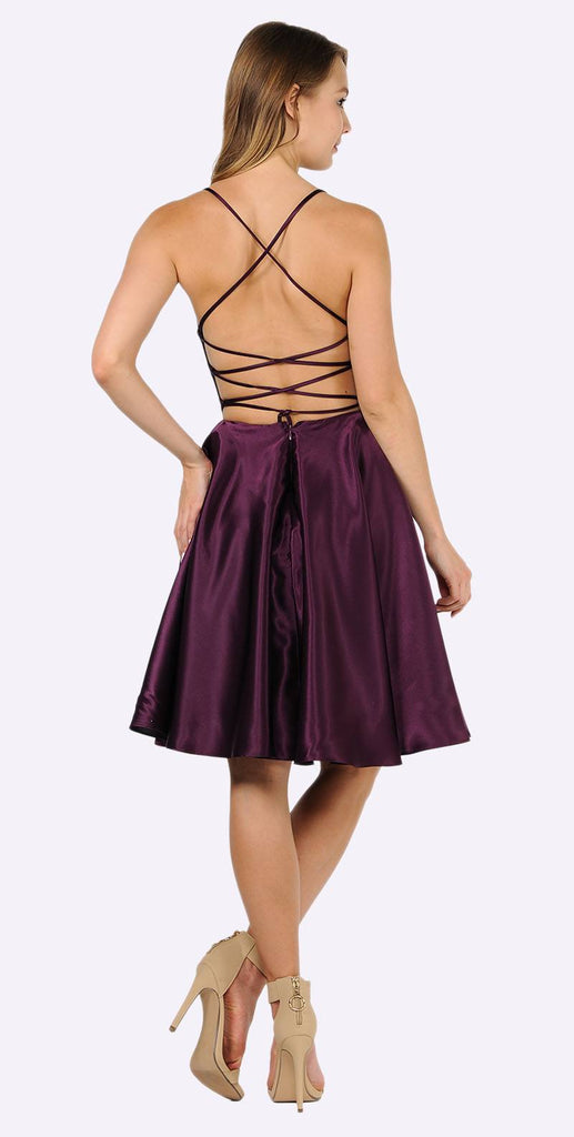 Poly USA 9064 Plum Strappy Back Homecoming Short Dress with Pockets
