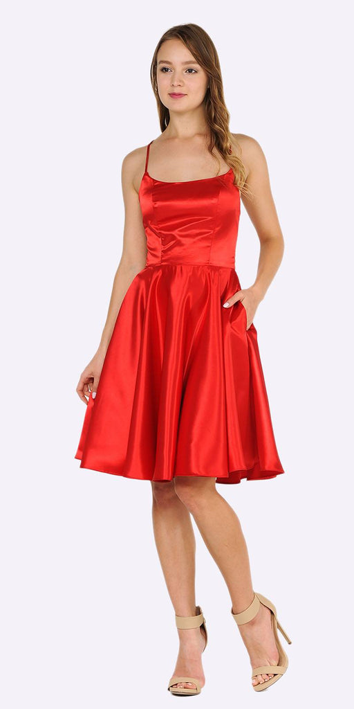 Poly USA 9064 Red Strappy Back Homecoming Short Dress with Pockets