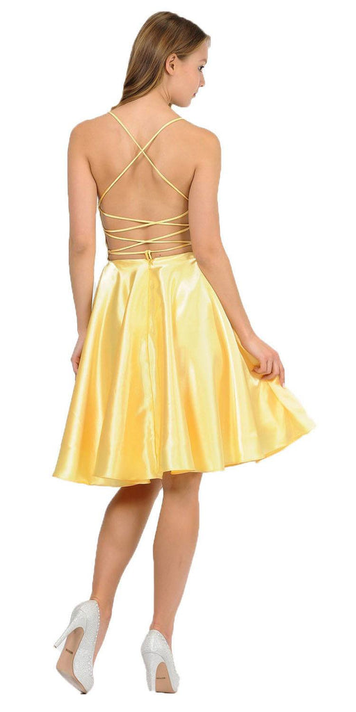 Poly USA 9064 Yellow Strappy Back Homecoming Short Dress with Pockets