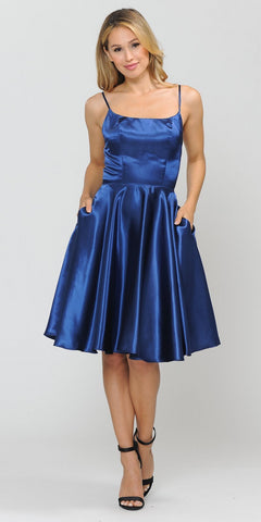 Short Sleeved Long Prom Dress Sheer Midriff Royal Blue