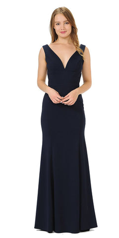 Navy Blue V-Neck and Back Long Formal Dress