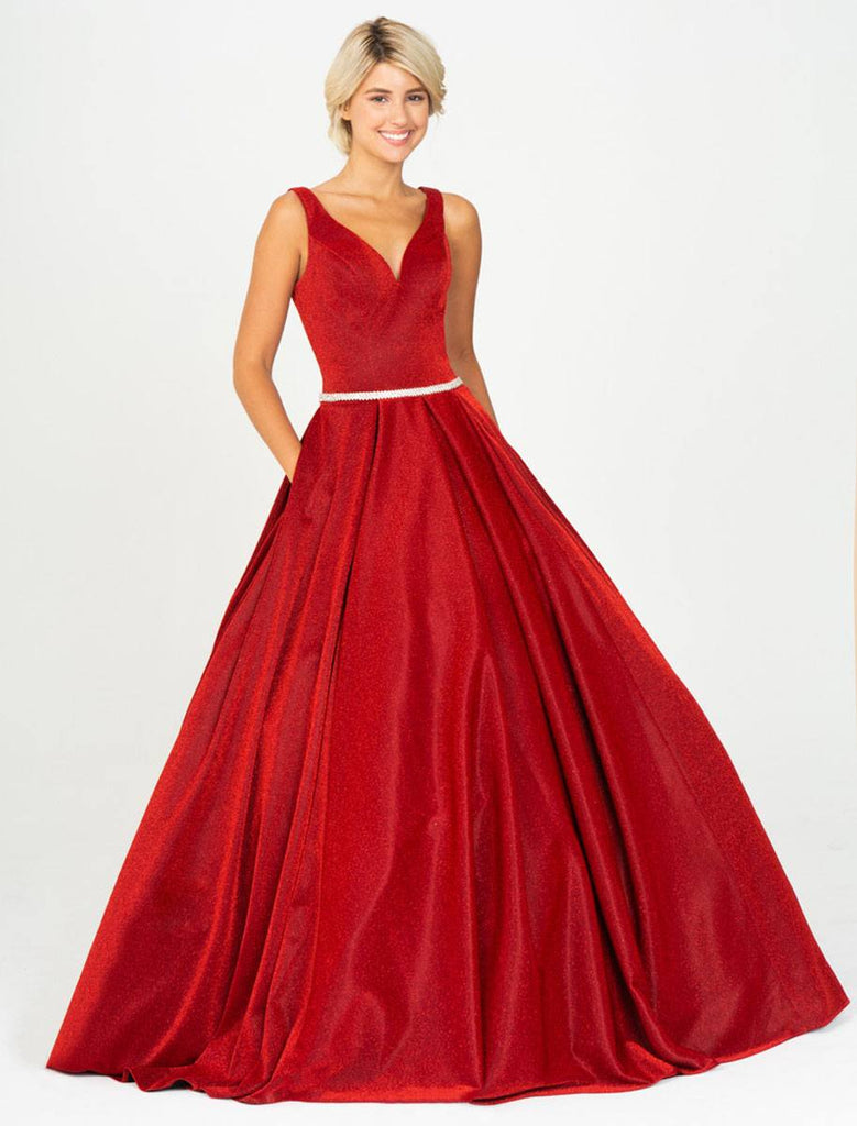 Red V-Neck Prom Ball Gown with Pockets
