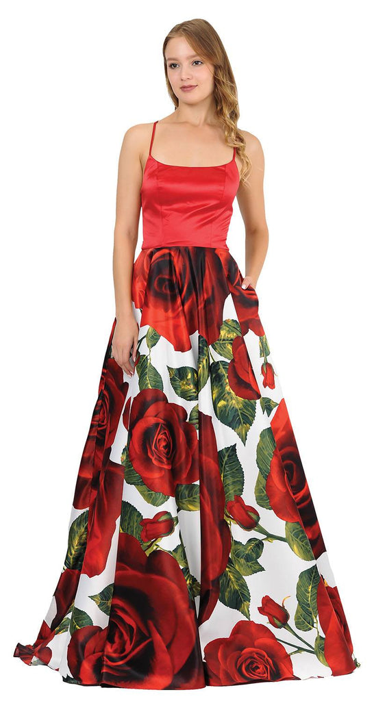 Floral Print Long Prom Dress Strappy Back
