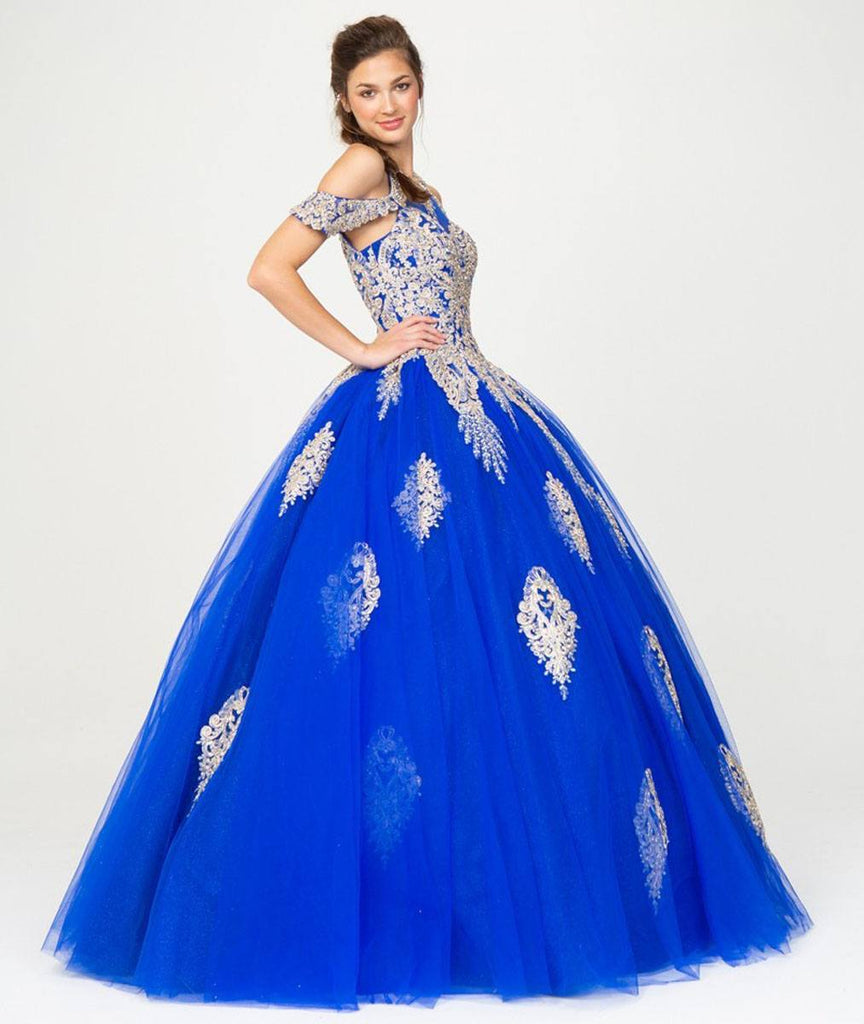 Cold-Shoulder Royal Blue Ball Gown with Cut-Out Back