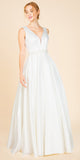 V-Neck and Back Beaded Waist Off White Long Prom Dress