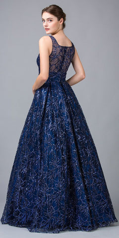 Sequins-Embellished Long Prom Dress Navy Blue