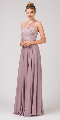 Illusion Neckline Long Formal Dress Mocha