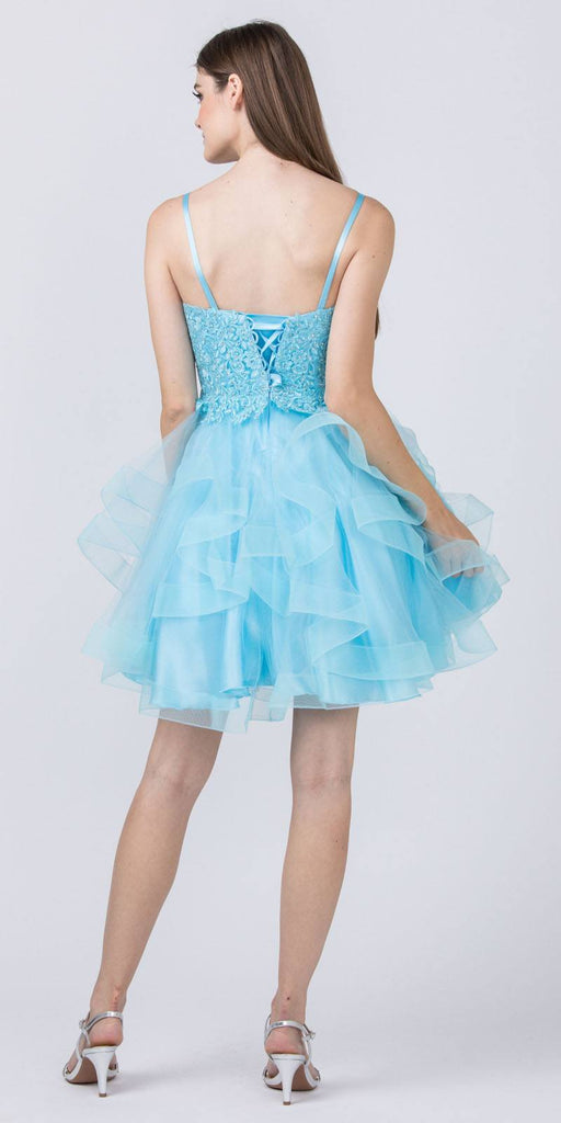 Appliqued Homecoming Short Dress Light Blue Tiered Skirt