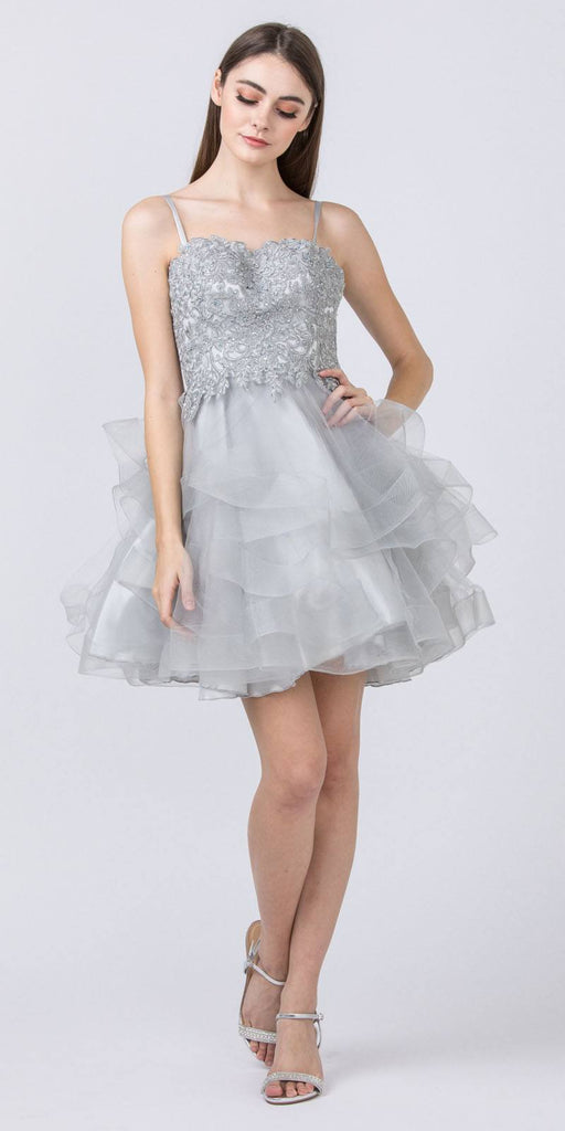 Appliqued Homecoming Short Dress Silver Tiered Skirt
