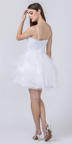 Appliqued Homecoming Short Dress White Tiered Skirt