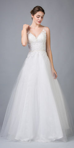 Off-White V-Neck and Back Appliqued Wedding Gown