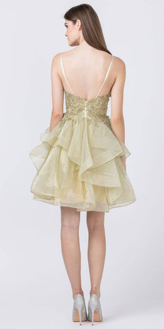 Champagne Tiered and Appliqued Homecoming Short Dress
