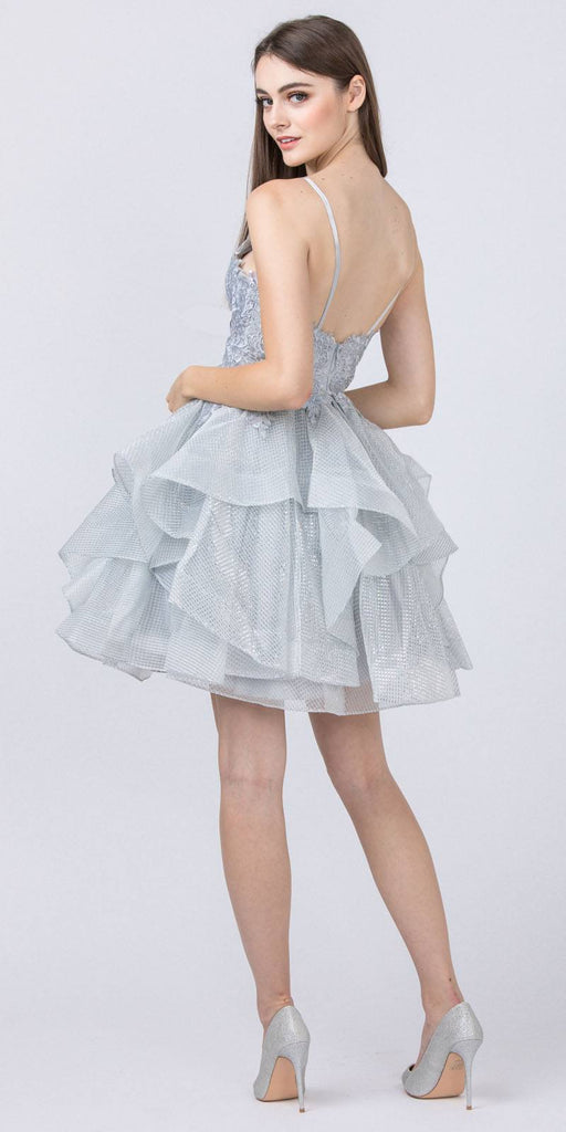 Silver Tiered and Appliqued Homecoming Short Dress