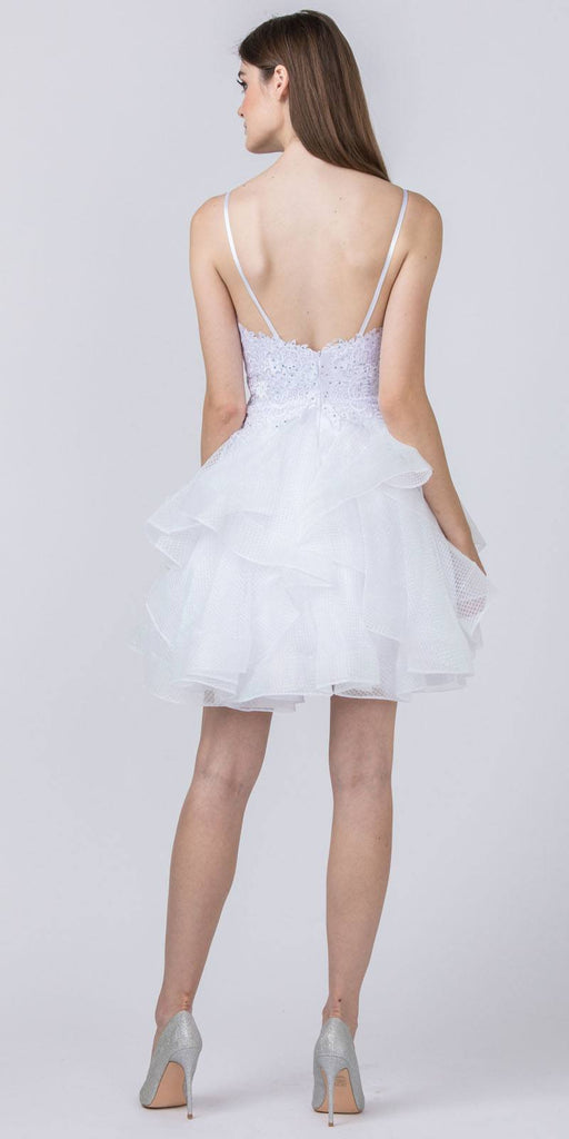 White Tiered and Appliqued Homecoming Short Dress