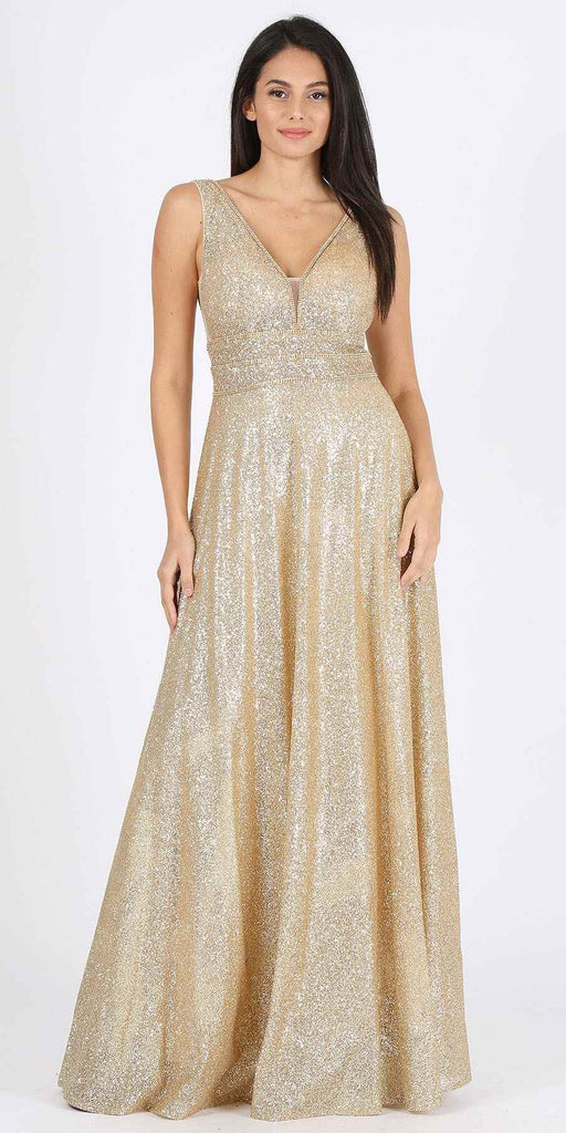 Champagne Sleeveless Glittery Long Formal Dress with V-Neck