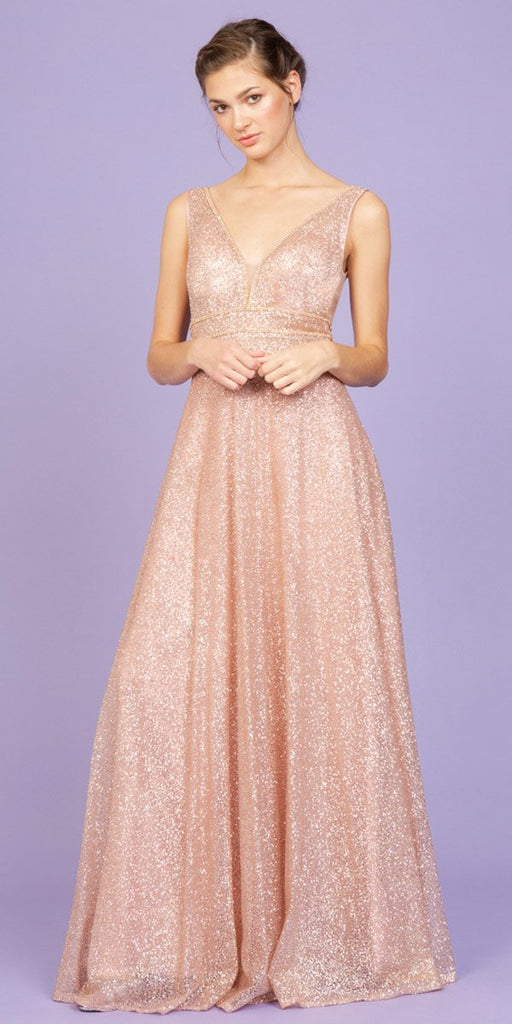 Blush Sleeveless Glittery Long Formal Dress with V-Neck