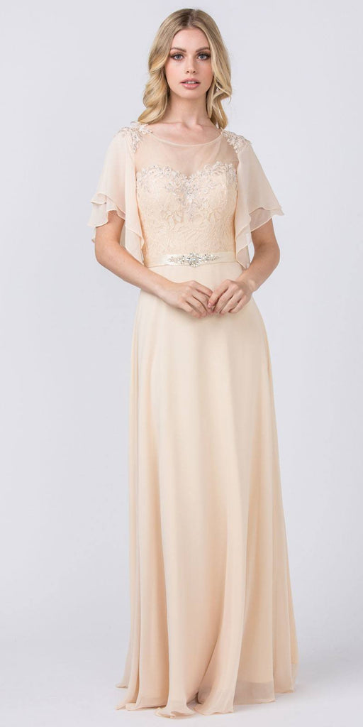 Illusion Long Formal Dress with Flutter Sleeves Champagne