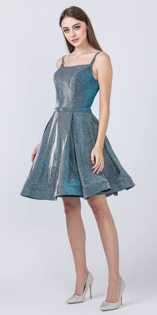 Glittery Homecoming Short Blue Dress with Double Straps