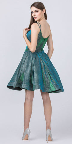 Glittery Homecoming Short Green Dress with Double Straps