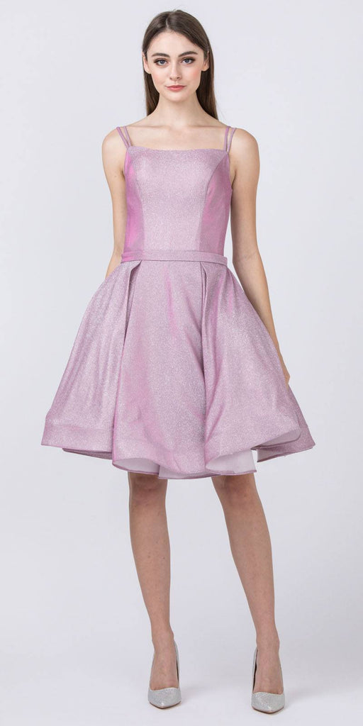 Glittery Homecoming Short Lilac Dress with Double Straps