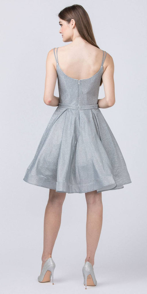 Glittery Homecoming Short Silver Dress with Double Straps