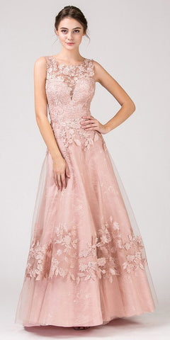 Off-the-Shoulder Appliqued Long Formal Dress Dusty Rose