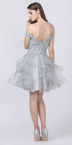 Off-Shoulder Homecoming Tiered Short Dress Silver