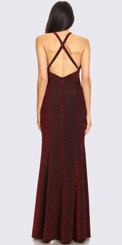 High-Neck Burgundy Glitter Long Formal Dress with Slit