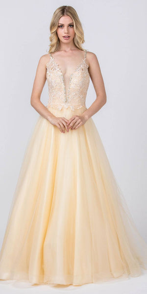 Embellished Bodice Champagne Prom Ball Gown
