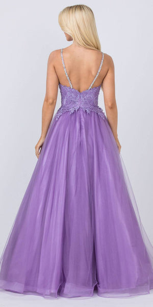 Embellished Bodice Mauve Prom Ball Gown