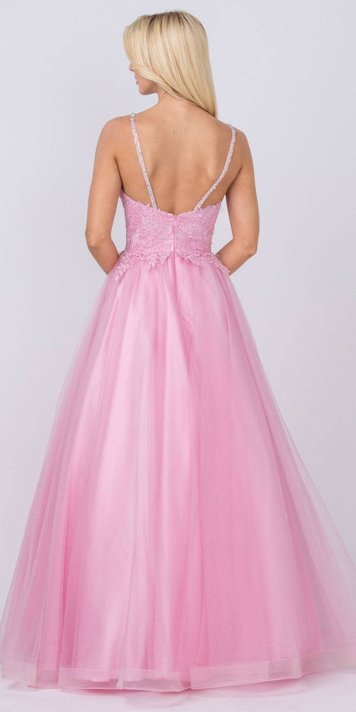 Embellished Bodice Rose Prom Ball Gown
