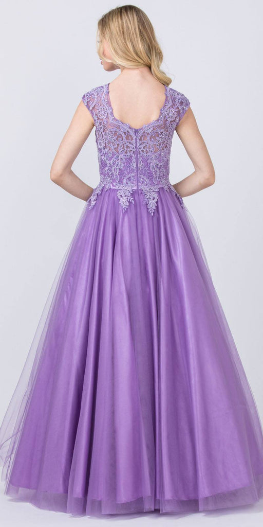 Cap Sleeved Beaded Prom Ball Gown Mauve