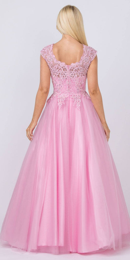 Cap Sleeved Beaded Prom Ball Gown Rose