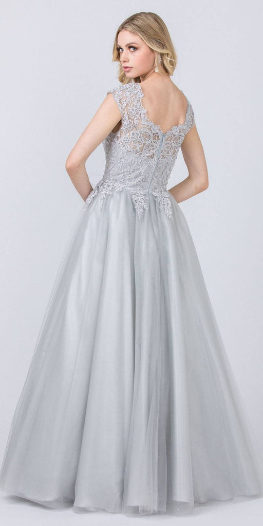 Cap Sleeved Beaded Prom Ball Gown Silver