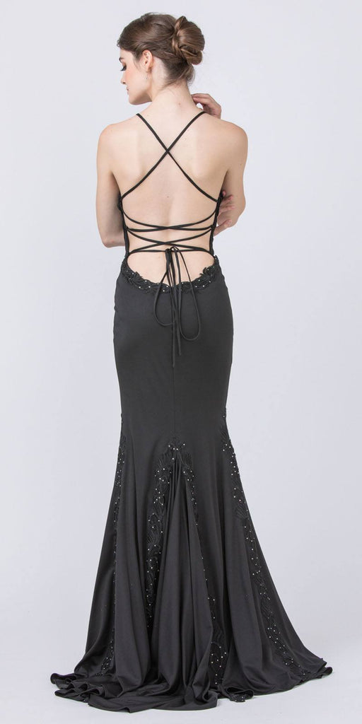 Black Appliqued and Beaded Long Prom Dress
