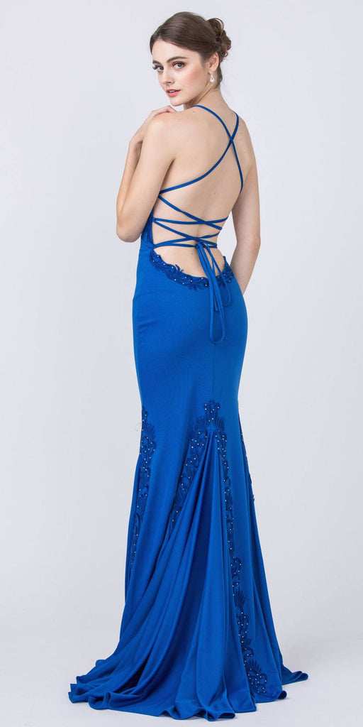 Royal Blue Appliqued and Beaded Long Prom Dress