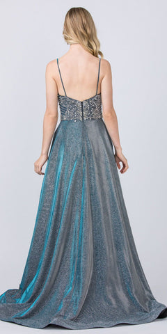 Glitter Long Prom Dress Blue with Beaded Bodice