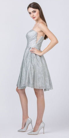 Sweetheart Neckline Strapless Homecoming Short Dress Silver