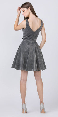 Black V-Neck and Back Homecoming Short Dress