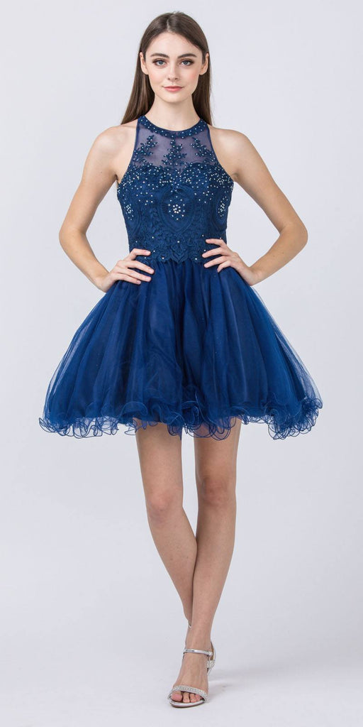 Halter Beaded Homecoming Short Dress Navy Blue