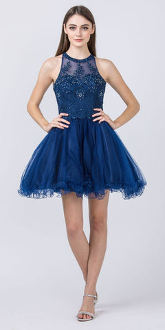 V-Neck and Back Navy Blue Homecoming Short Dress
