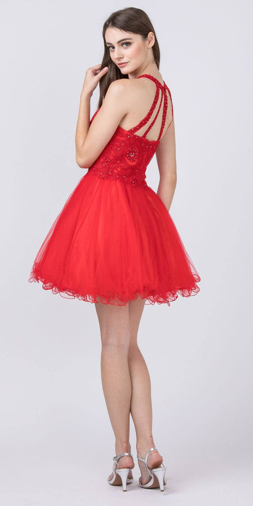 Halter Beaded Homecoming Short Dress Red