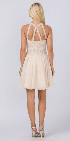 Appliqued Halter Homecoming Short Dress Champagne
