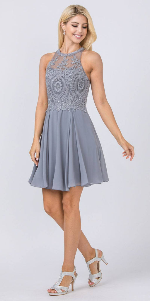 Appliqued Halter Homecoming Short Dress Charcoal